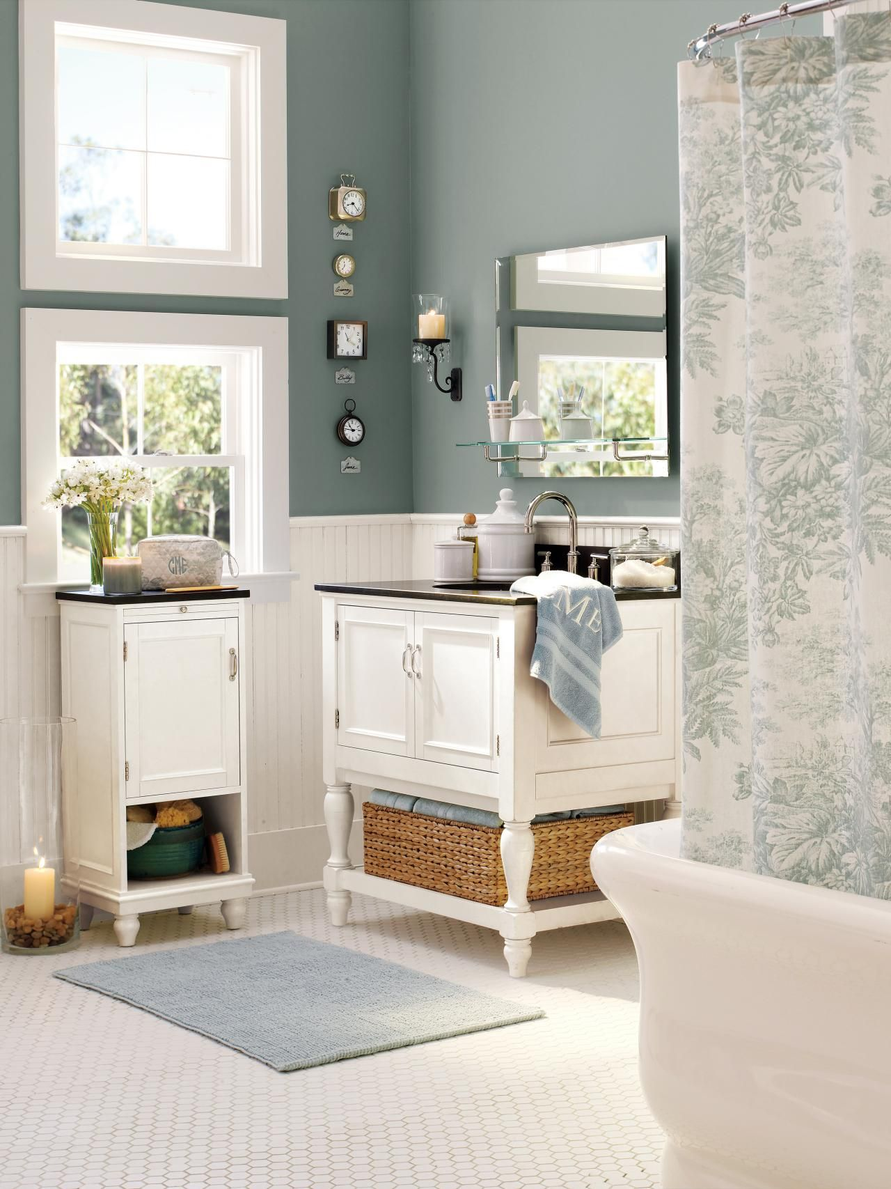This Bathroom Is Full Of Accessories From The Retailer Pottery Barn  Including A Shower Curtain,