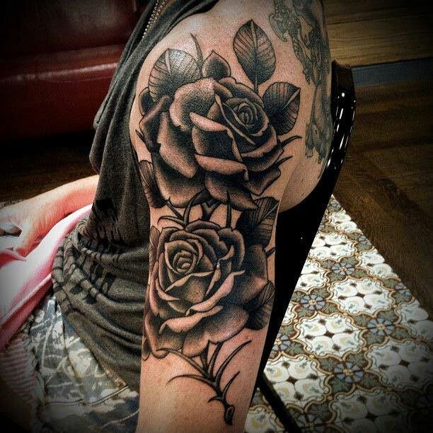 Black Rose Tattoos Upper Arm Tattoos Girl Arm Tattoos