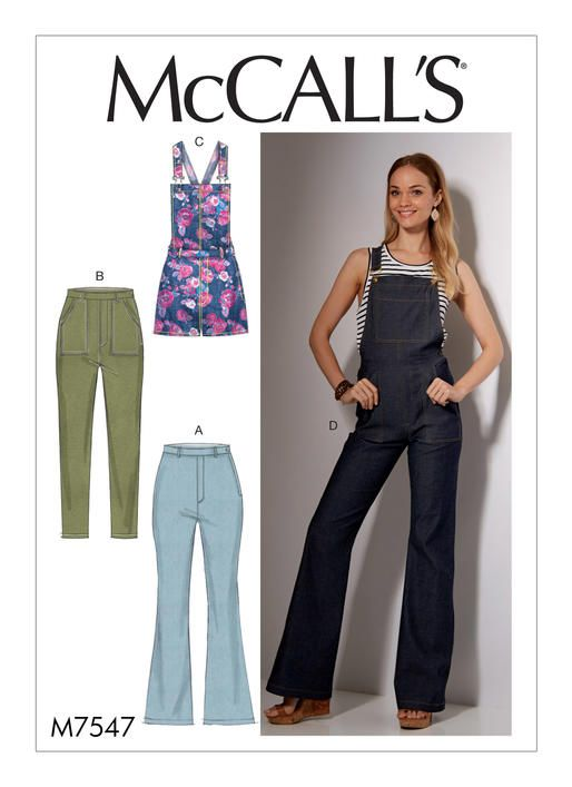 McCalls Jeans, Dungarees, Skinny Jeans, and Shortalls 7547 | Sewing ...
