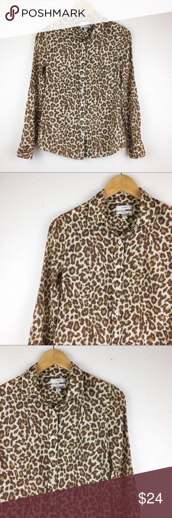 e8325ab6c3ca10 J Crew Leopard Print Shirt Silk Blend Size 0 J Crew Leopard Print Shirt  Size