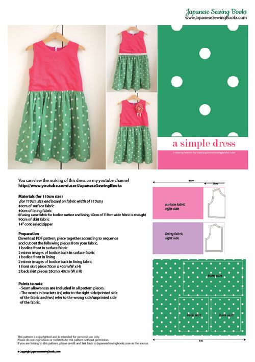 Free Pattern, Tutorial and Sewing Video – A simple dress | Kiddie ...