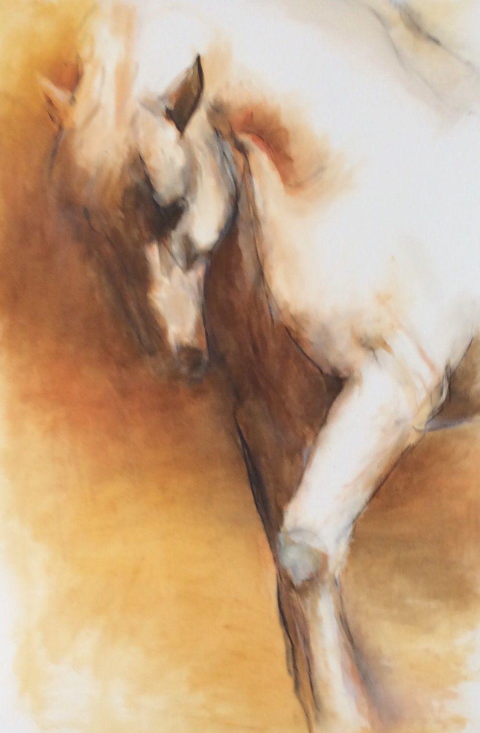 Cheval arabe. Huile sur papier. Véronique Despinois