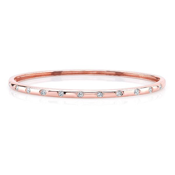 14KT Rose Gold Diamond Sparkle Bangle Bracelet 1905 liked on