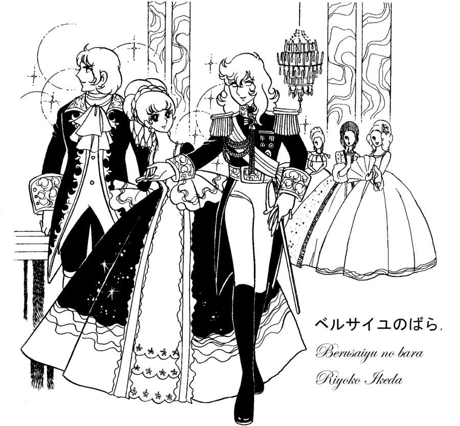 The Rose Of Versailles Episode 40: Lady Oscar And Rosalie Line Art Coloring Sheet By Emilie