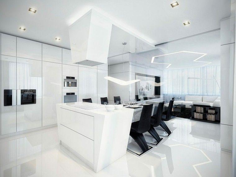 Cocinas blancas y negras - 50 ideas geniales a considerar Loft