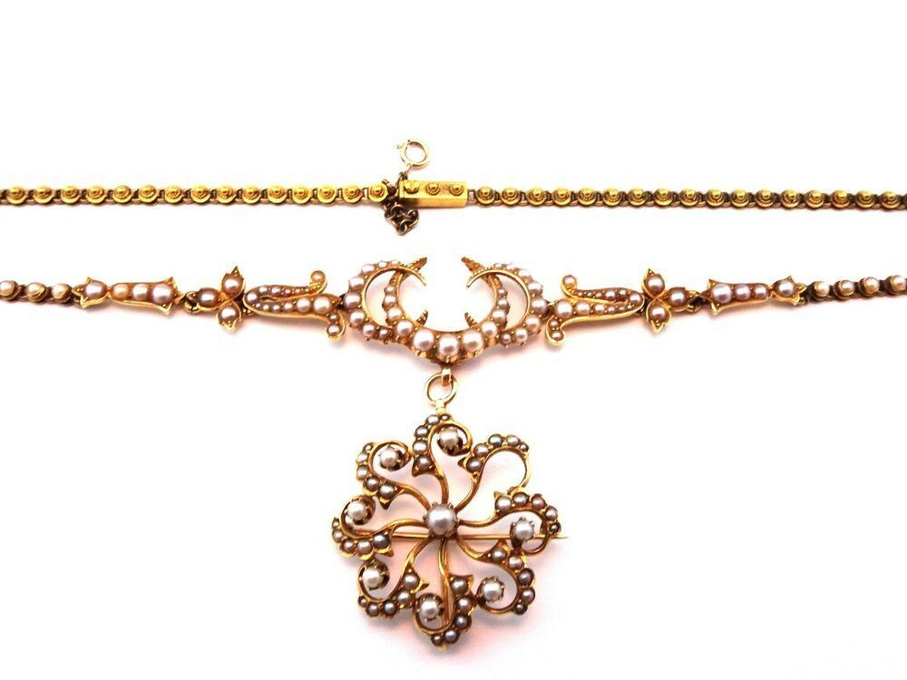 raccolto 100% di alta qualità sporco Dettagli su Antico Vittoriano 18ct GOLD & Collana di perle con ...
