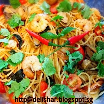 Fried Tom Yum Spaghetti I Made This To Bring To A Foodies Get