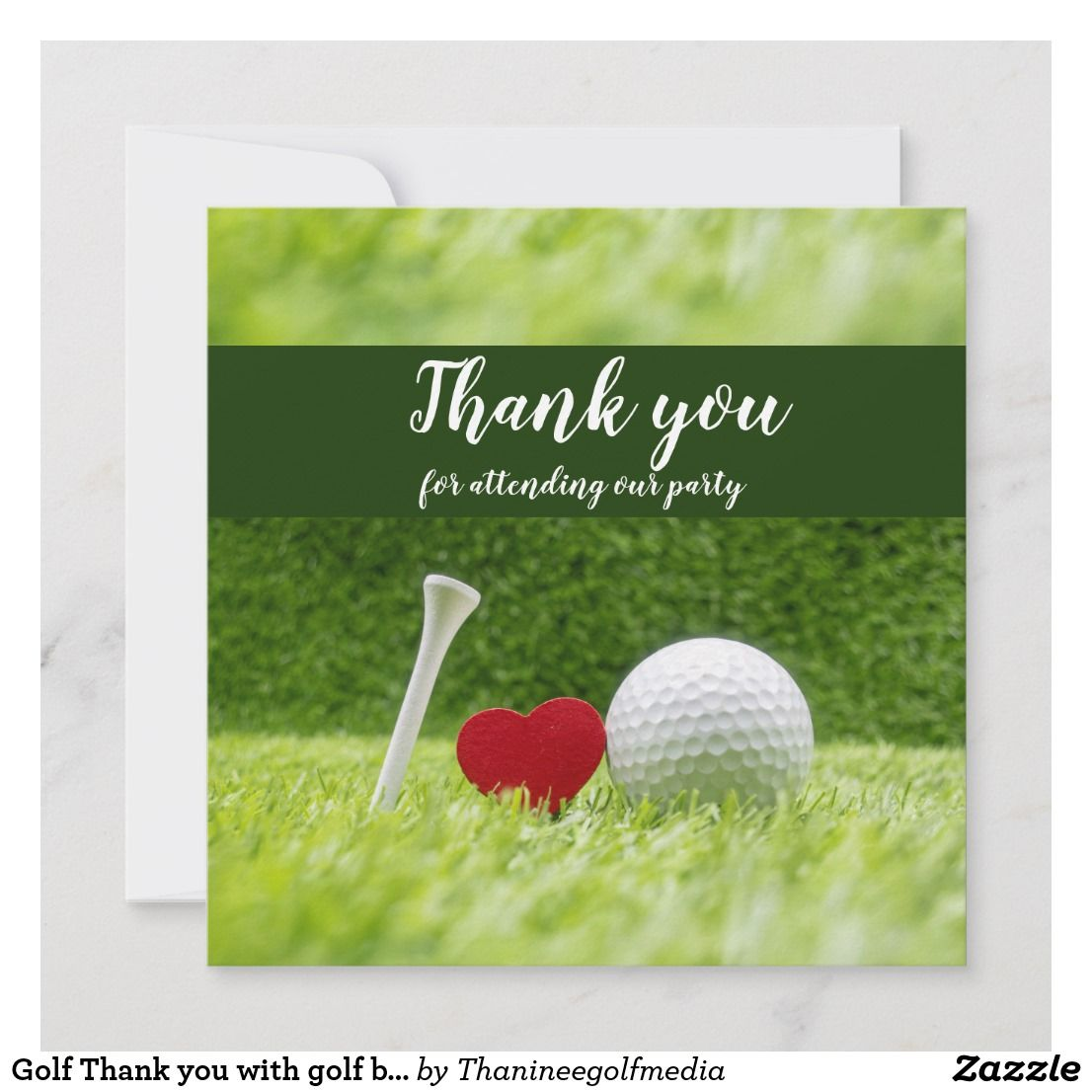Golf Thank You With Golf Ball And Tee With Love Zazzle Com Golf Ball Holiday Cards Happy Valentine
