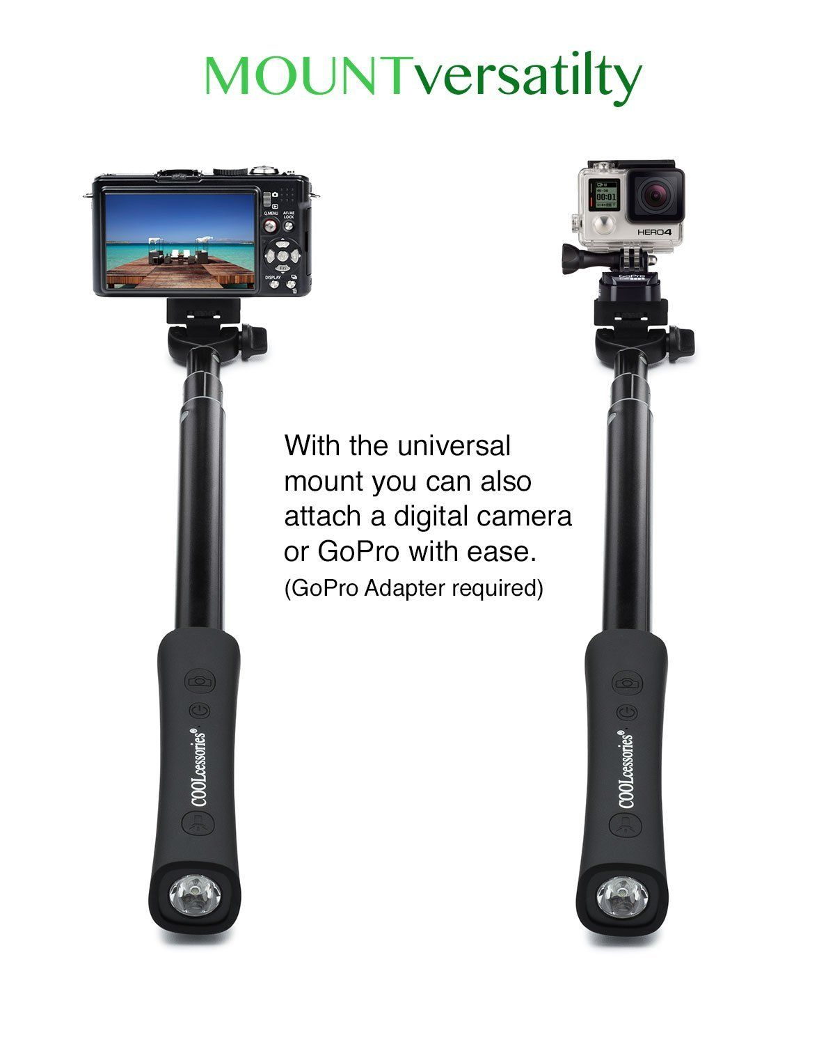 ac3a094ee4482d Amazon.com: COOLcessories 3-in-1 Selfie Stick Monopod - Bluetooth Enabled