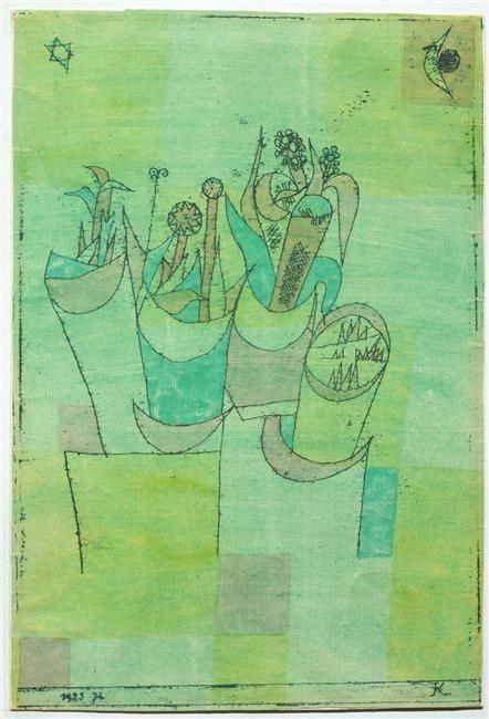 """""""Blumenstöcke II Traduction : Pots de fleurs II"""" de Paul  Klee (1879-1940). Paris, Centre Pompidou - Musée national d'art moderne - Centre de création industrielle - Photo (C) Centre Pompidou, MNAM-CCI, Dist. RMN-Grand Palais / Droits réservés"""