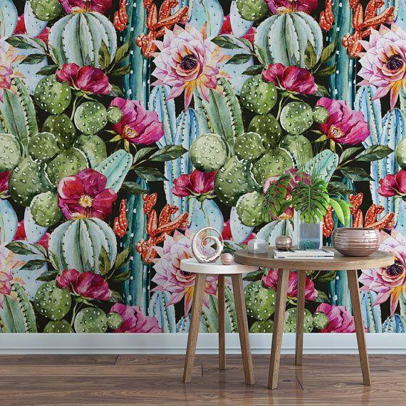 Watercolor Cactus Wallpaper, Removable Wallpaper, Self-adhesive