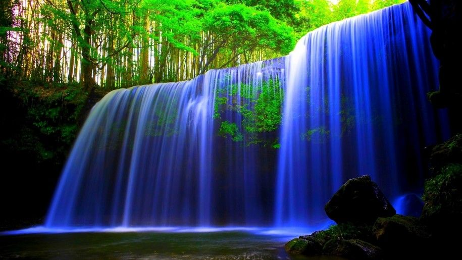 Glowing Blue Waterfall Wallpaper Hd Wallpaper Waterfall