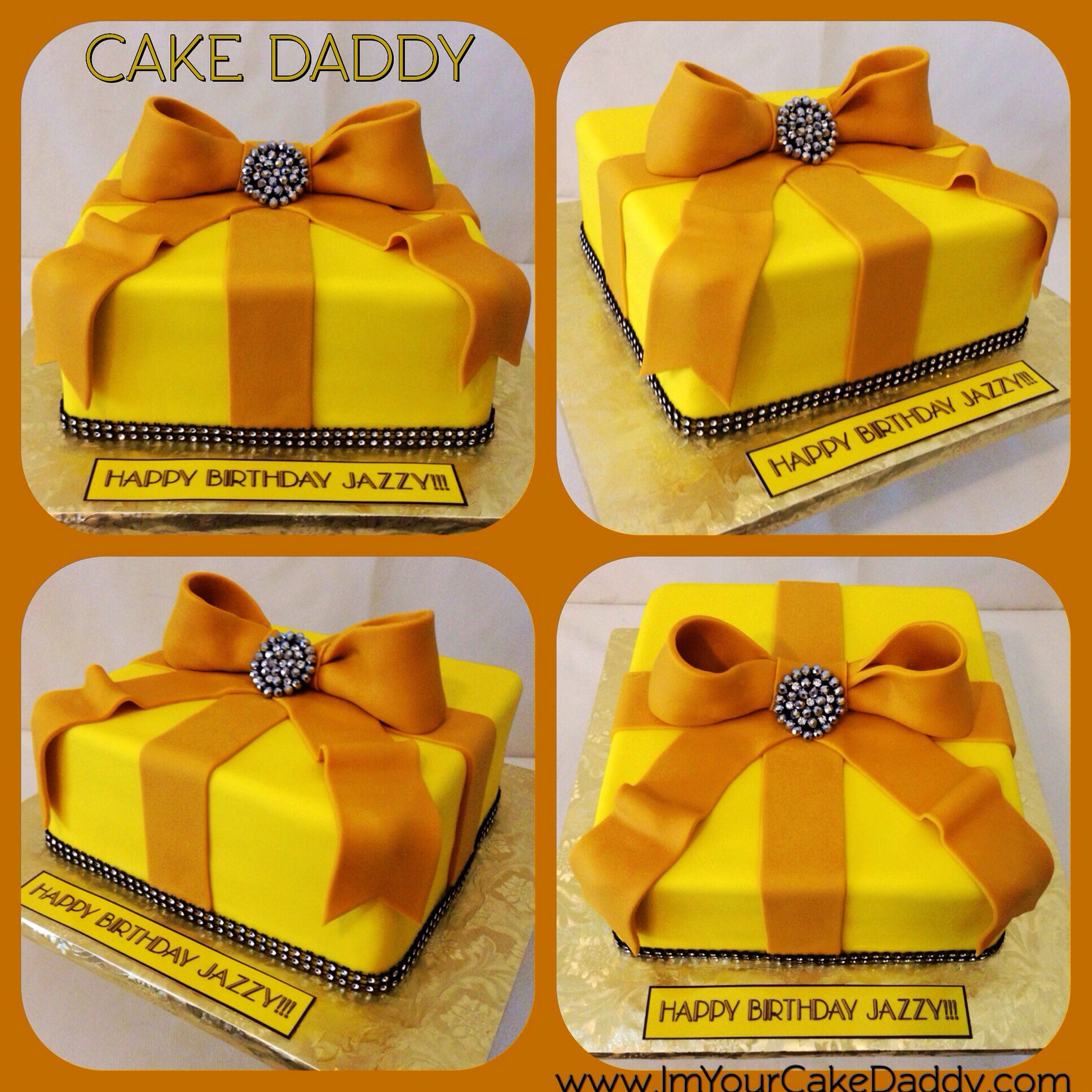 Yellow and gold gift box birthday cake. Crazy cakes