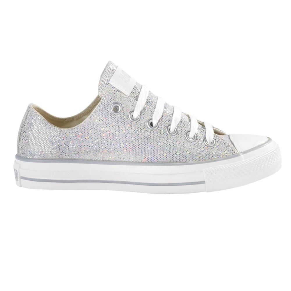 Converse Silver Glitter Low Rise Shoes Converse Silver