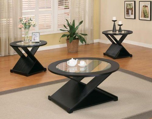 Best 3Pc Coffee Table Set With X Base In Rich Black Finish By 640 x 480