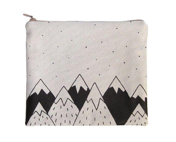Cotton zipper pouch, toilet bag, handbag screen printed. Mountains ...