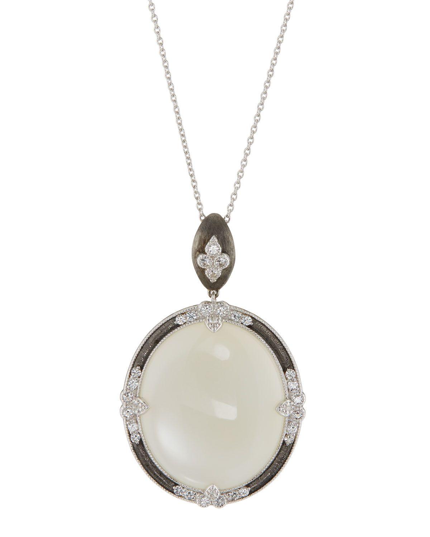 Jude Frances 18K Lisse Round Pendant Necklace, Sapphire/Moonstone