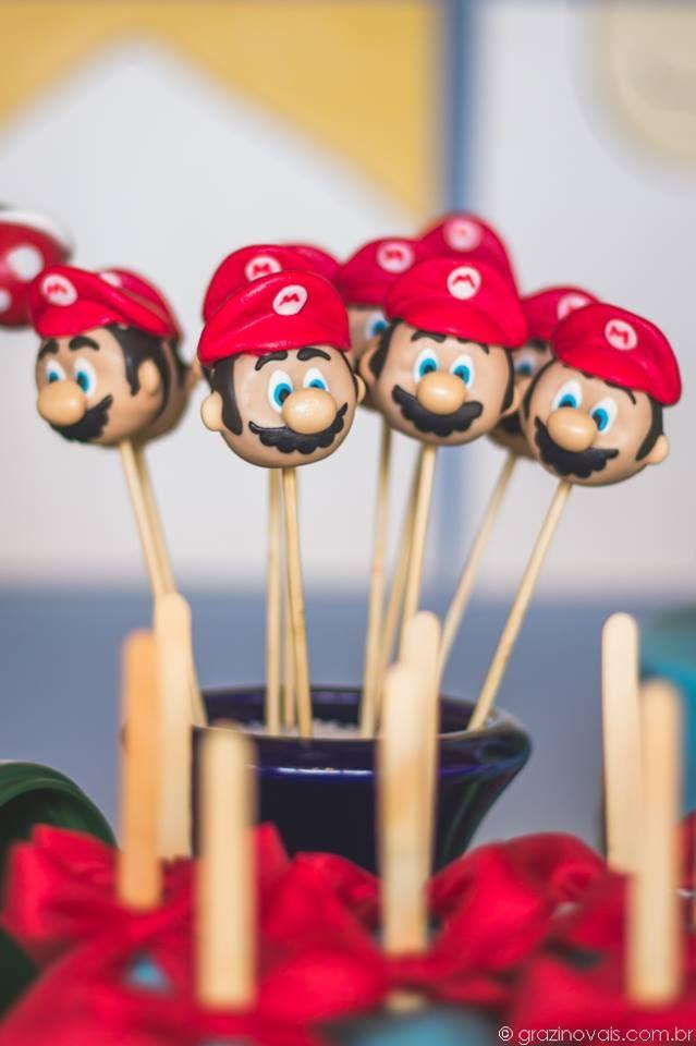 Mario Cake Pops Supermario Mariobros Themedparty Festa