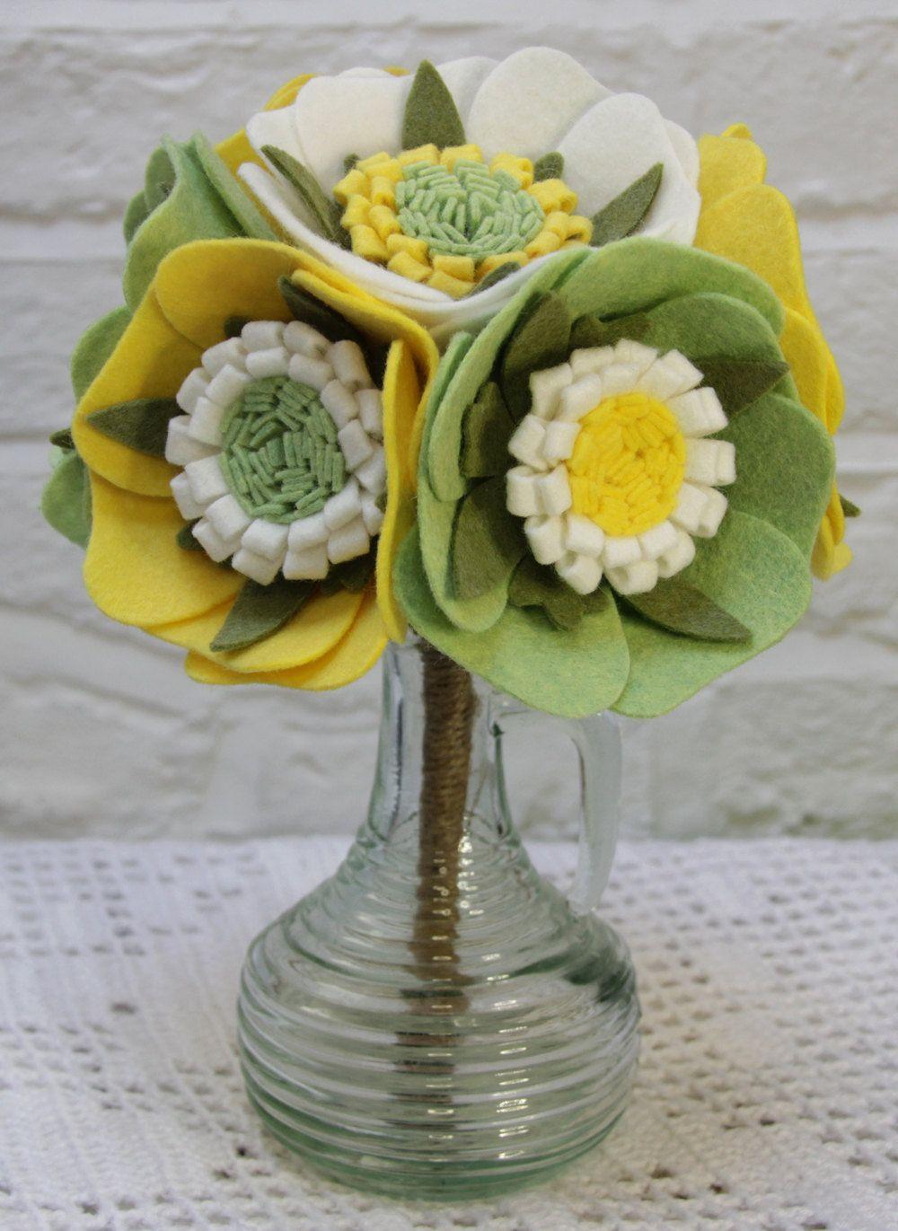 Felt Flower Bouquet Rustic Wedding Bouquet Eco Friendly Flowers