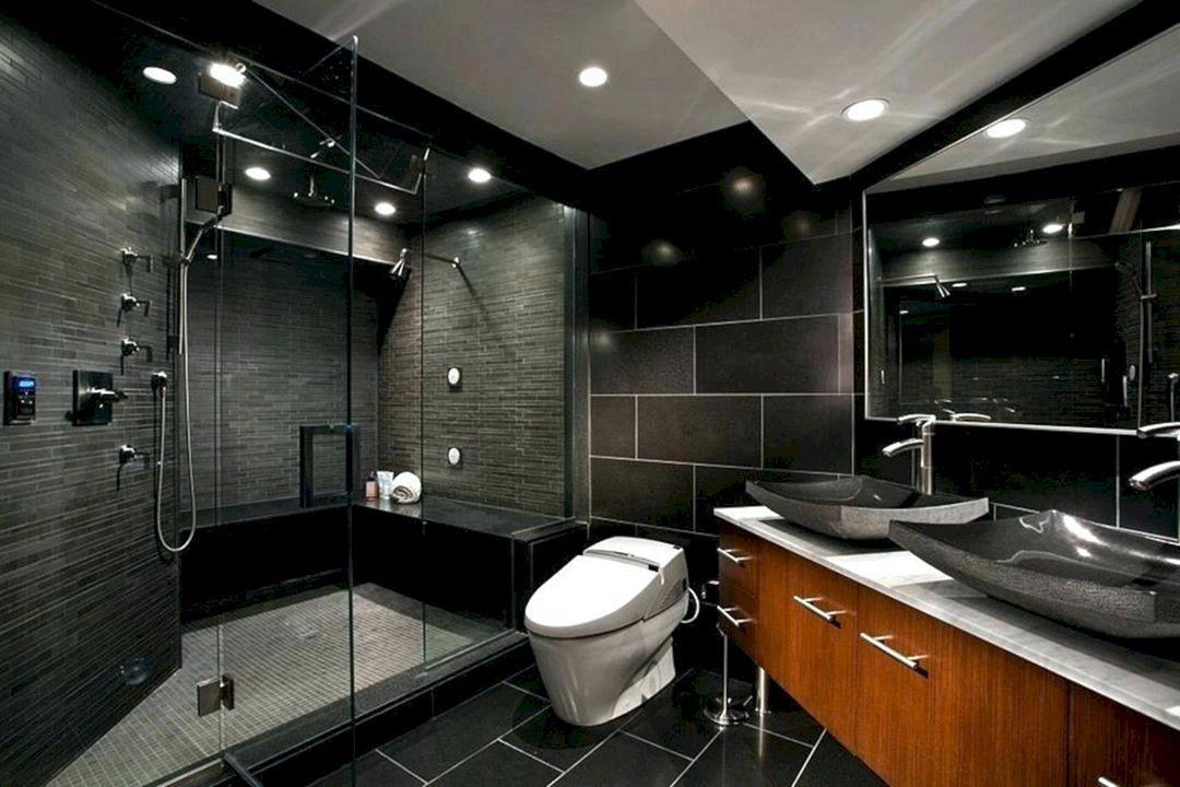 15 Incredible Black And Grey Bathroom Design Ideas Dexorate Masculine Bathroom Design Black Bathroom Bathroom Design Black