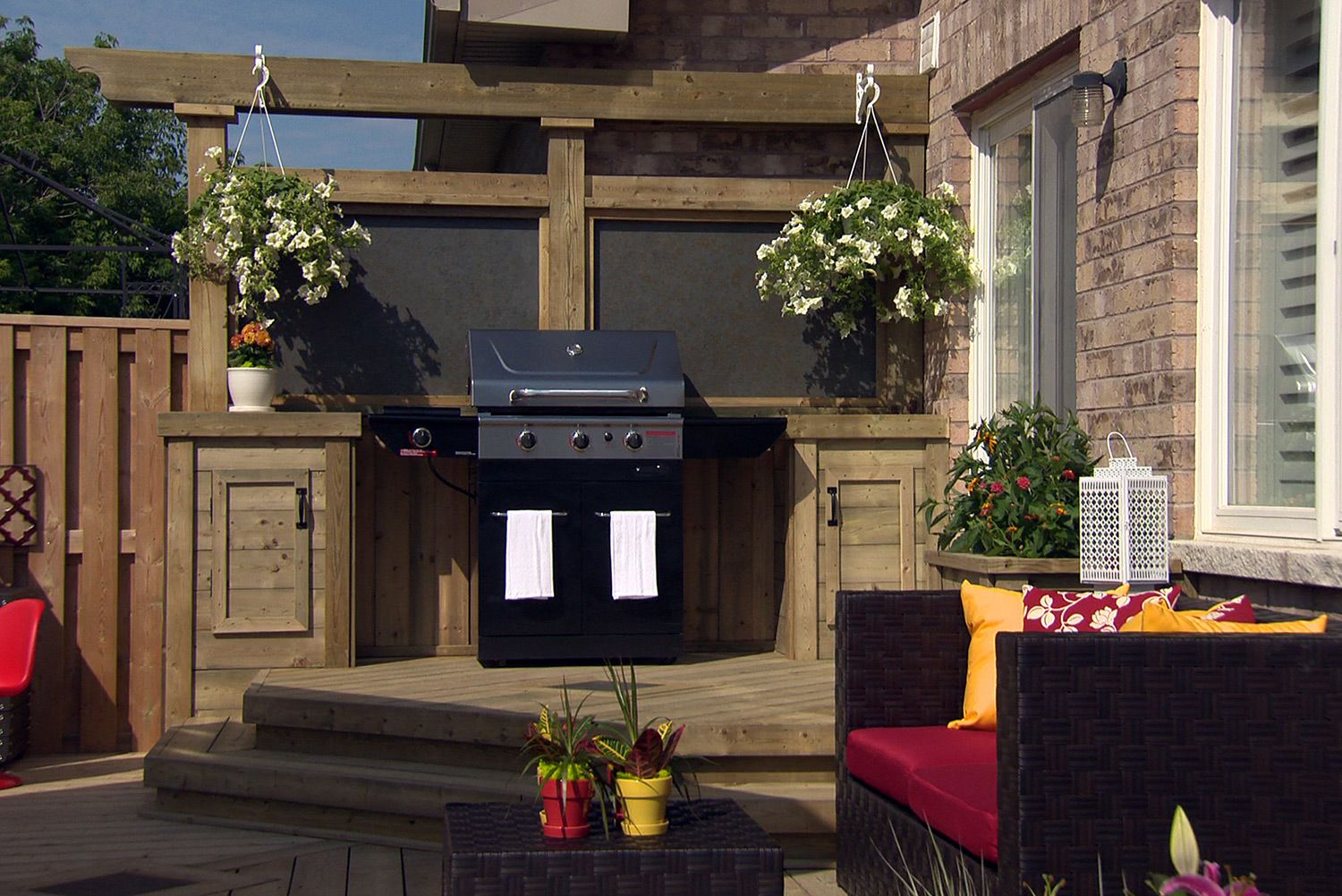 Barbeque area with custom side tables privacy screen with for Hanging patio privacy screen