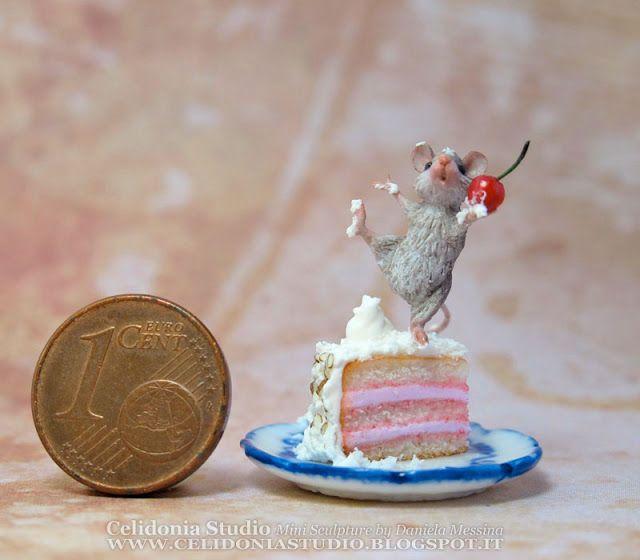 Celidonia Studio: Topino su Torta - Mini Scultura in Pasta Sintetica...