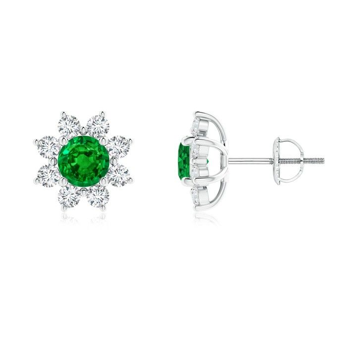 Angara Emerald and Diamond Halo Vintage Stud Earrings in Platinum Tmgag