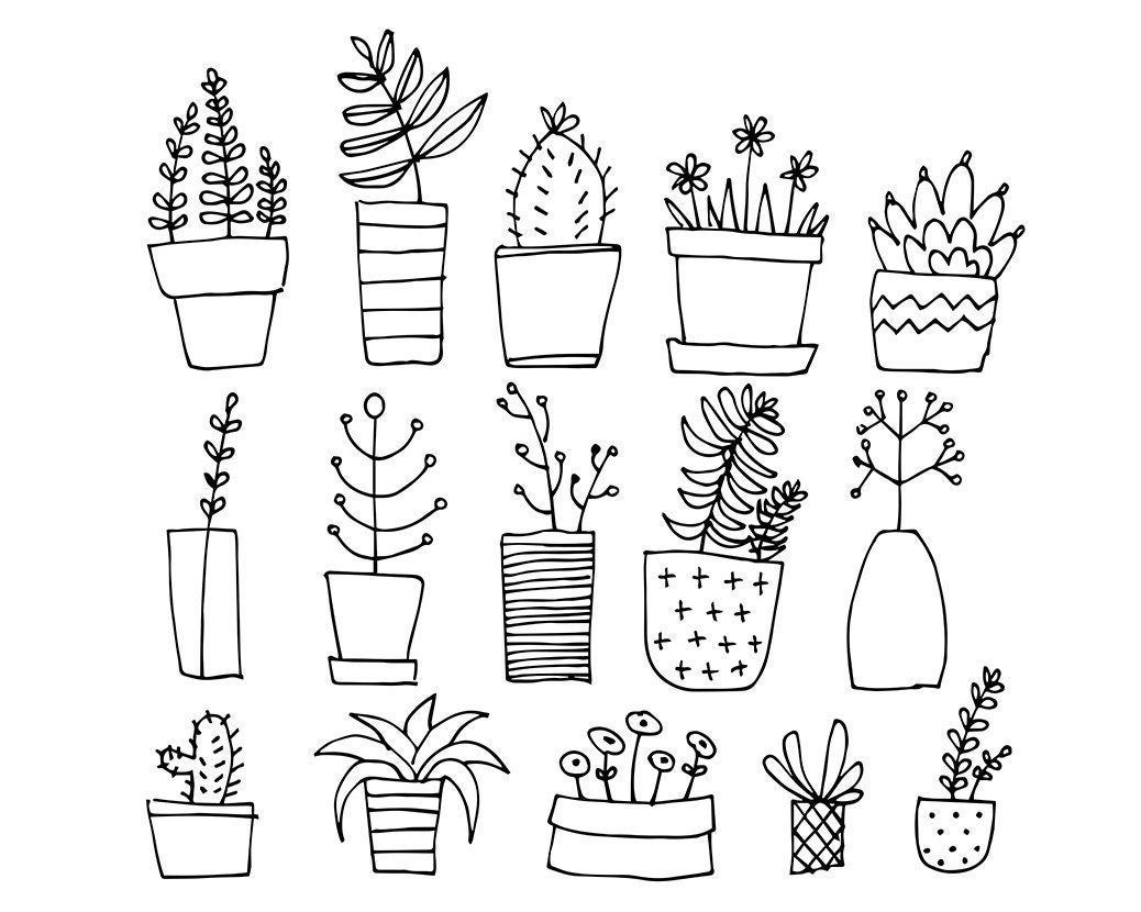 Photo of 15 Lineart Doodles / PLANTS / Digital PNG Clipart Graphics /    Etsy