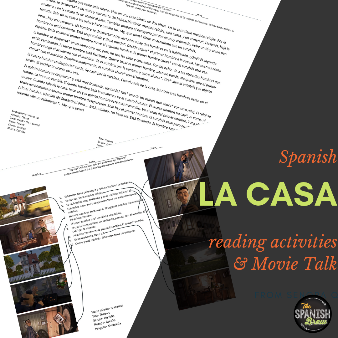 Spanish 1 Movie Talk Reading Amp Coloring Worksheet For