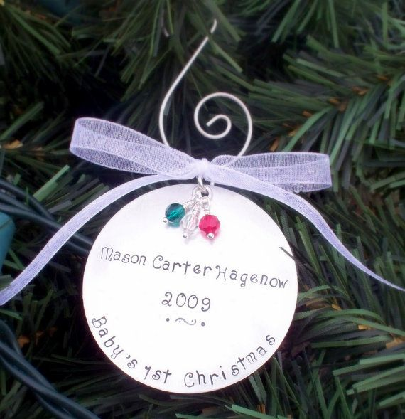 Large CHRISTMAS ORNAMENT Hand stamped and Personalized with Name and