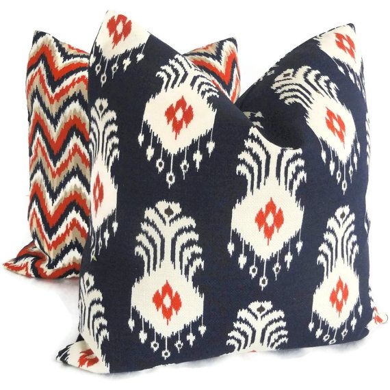 Nate Berkus Navy Blue And Red Ikat Decorative Pillow Cover