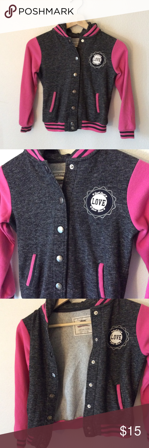 (3 FOR $20 SALE) Reflex Kids Varsity Jacket Pink sleeved faux letterman's jacket from Reflex Kids. See pics for more details.  Very gently used, great condition, no damages.  Girls size small (7-8 year olds) Reflex Kids Jackets & Coats #varsityjacketoutfit