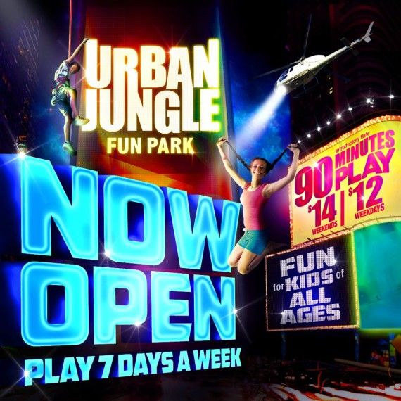 Urban Jungle Fun Park San Diego in Santee. Rock climbing, trampoline, super slides, obstacle courses and more.