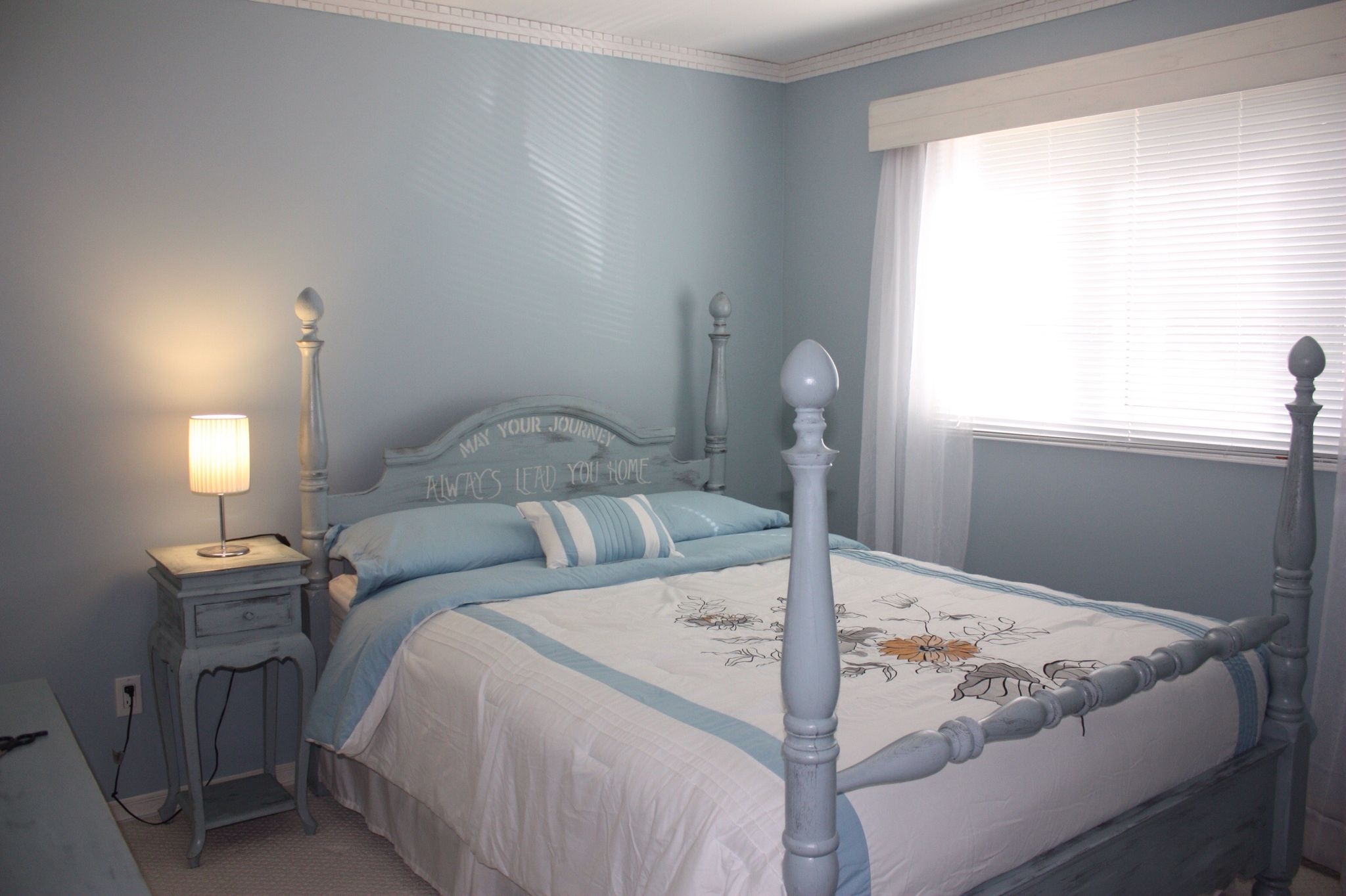 I painted this spare bed and dresser in Benjamin Moore cottage paint it was easy and great product.