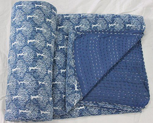 Craftofpinkcity Indigo Blue Kantha Quilt With cotton Sheet Queen made with Organic Cotton, Soft and Lightweight; Breathable Hand Stitches and Eco Friendly Bedspread Tree Of Life #01