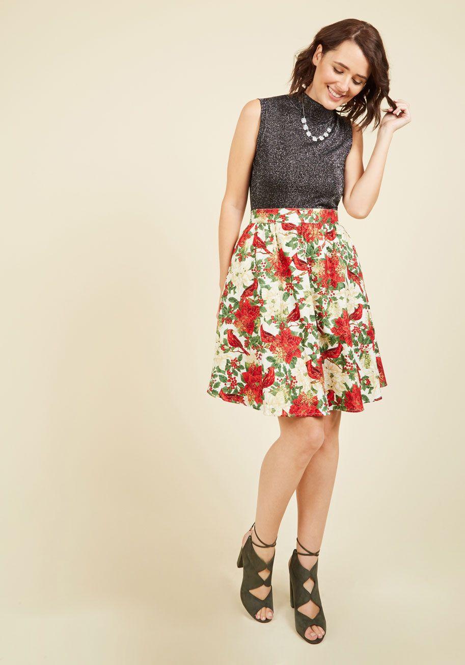 3b97392b3e Poinsettia Well-Taken Skater Skirt. Between its festive