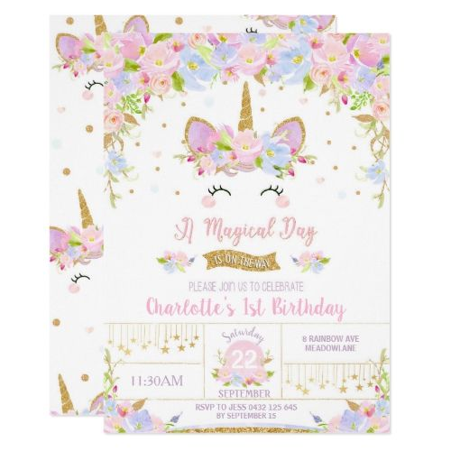 Unicorn Birthday Invitation Cute Floral Girls   Zazzle com - Unicorn invitations, Unicorn birthday invitations, Unicorn birthday party invitation, Unicorn birthday, Birthday invitations, 1st birthday invitations - Start off your little girl's next birthday party with a bang with these cute unicorn personalised invitations! Featuring an a cute unicorn, watercolor floral and faux gold glitter details  Perfect for 1st birthday party or ANY AGE! Personalise this lovely unicorn invitation with your child's name, age and party details easily and quickly, simply press the customise it button to further rearrange and format the style and placement of the text  These great unicorn invitations will sure make an impression!  (c) The Happy Cat Studio