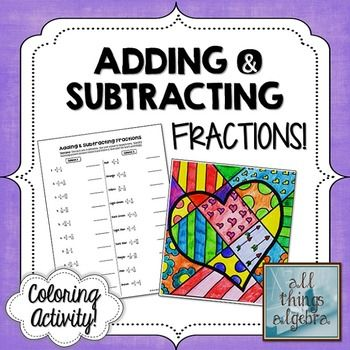Adding and Subtracting Fractions Coloring Activity ...