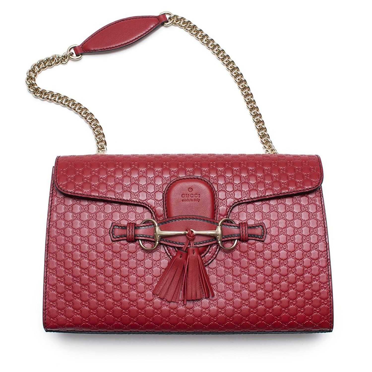 788c2cc8b GUCCI Soho Leather Chain Tabasco Red Gold Hardware Small Short Shoulder Bag  - Dimensions: 11