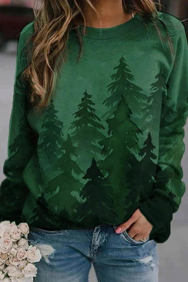 Gradient Landscape Forest Print Green Tree T-Shirt