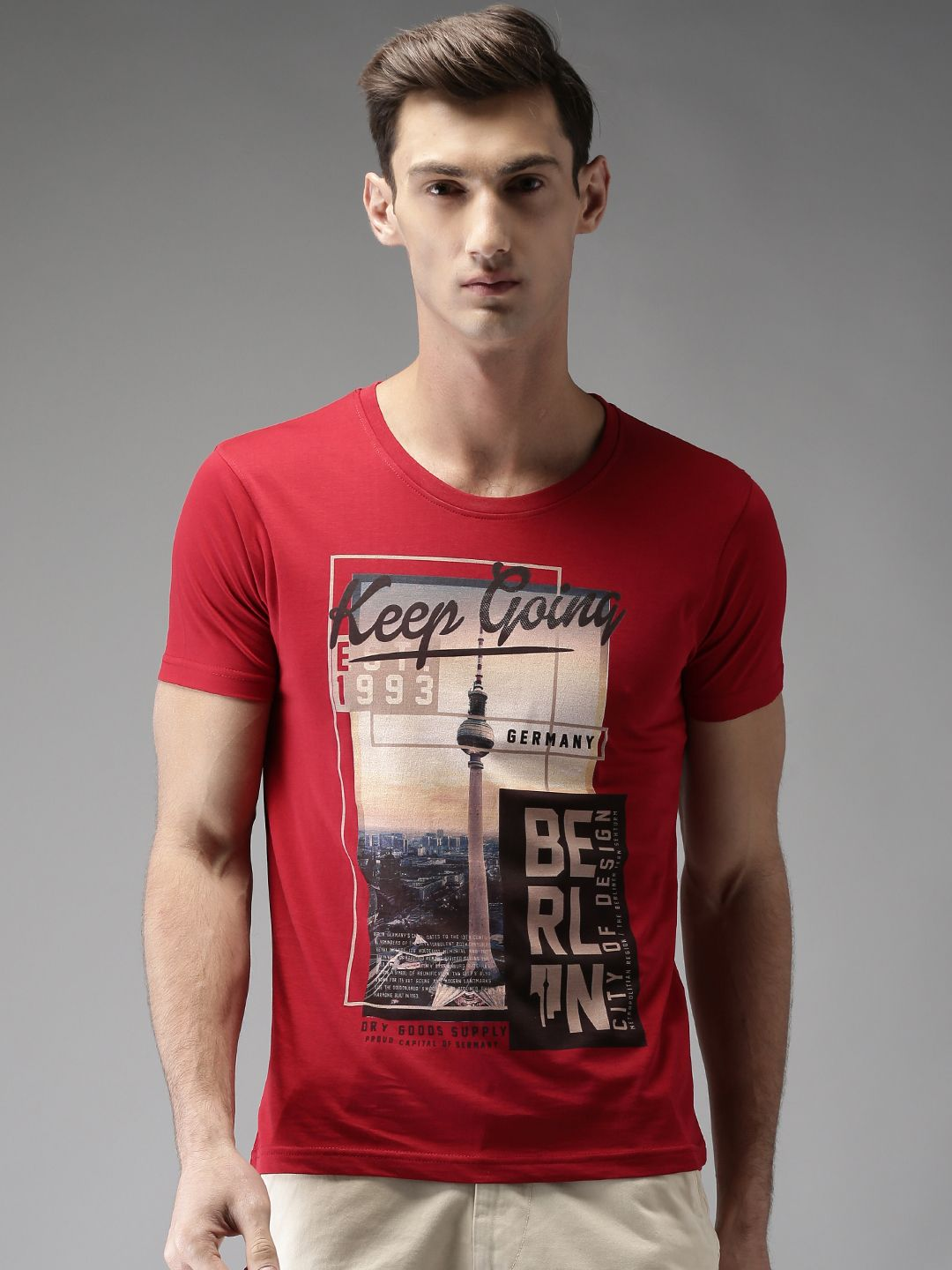 4e4d3d829 Buy HERE&NOW Men Red Printed T Shirt - Tshirts for Men 2365771 | Myntra