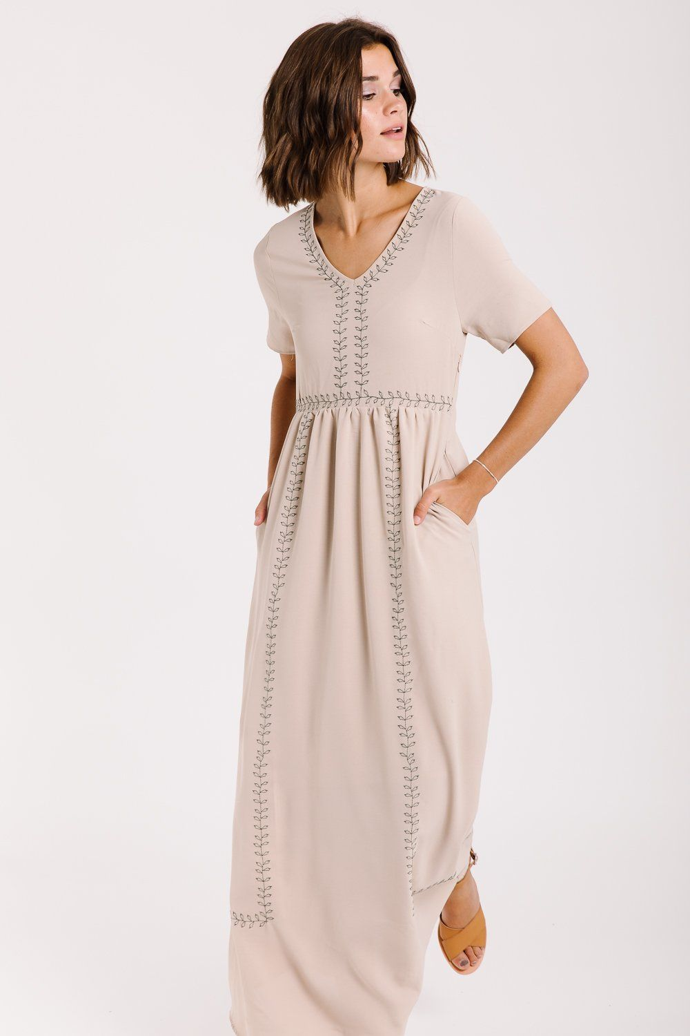 The kimberly embroidered maxi dress in taupe fashion pinterest
