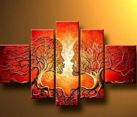 Elegant Hand Painted Artwork The Lovers Tree High Q. Wall Decor Landscape Oil  Painting On Canvas Mixorde Framed