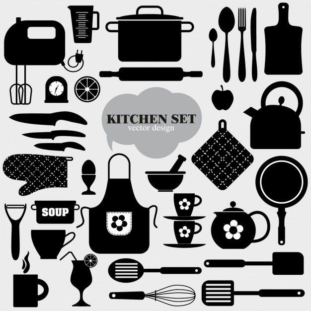 Elementos de cocina negros vector gratis laminas for Elementos cocina