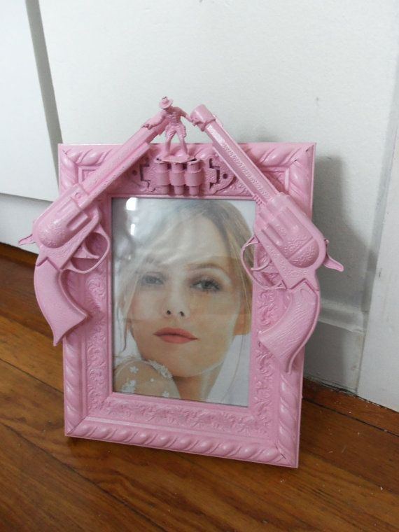 pink cowboy gun picture frame by CheeseCrafty on Etsy, $21.00