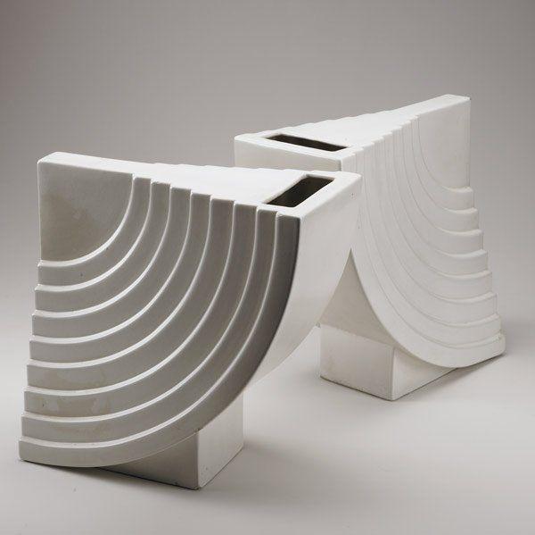 ETTORE SOTTSASS Pair of Yantra ceramic vases
