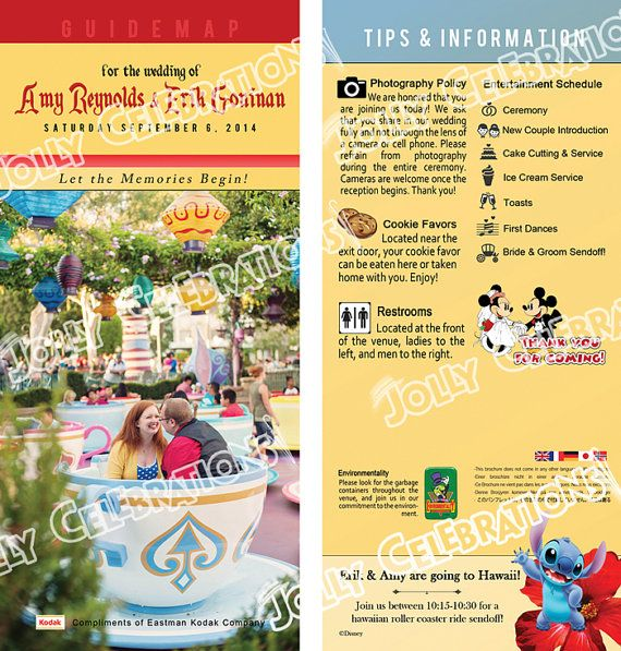 Custom Disney Parks Guidemap Wedding Programs Invitations Save The Date