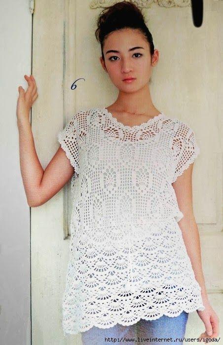 Túnica Branca de Crochet | Túnicas, Blusas y Blusas crochet