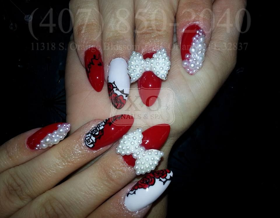 Roses Pearls 3d Bows Nail Design Hand Drawn Painted Written