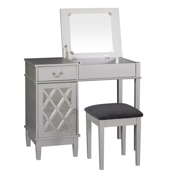 Linon Louvre Vanity Wood Table Stool And 18 X 36 Inch Mirror By